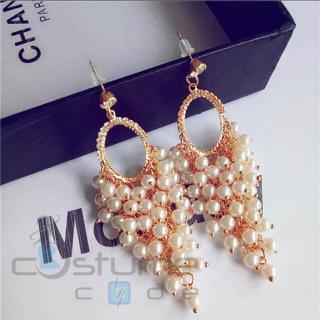 Long pearl tassel drop earrings