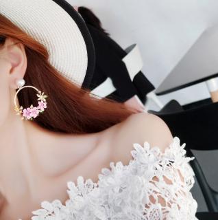 Circle flowers earrings Pink