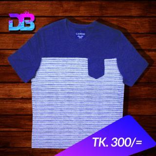 Navy Blue deep chest white stripe t-shirt